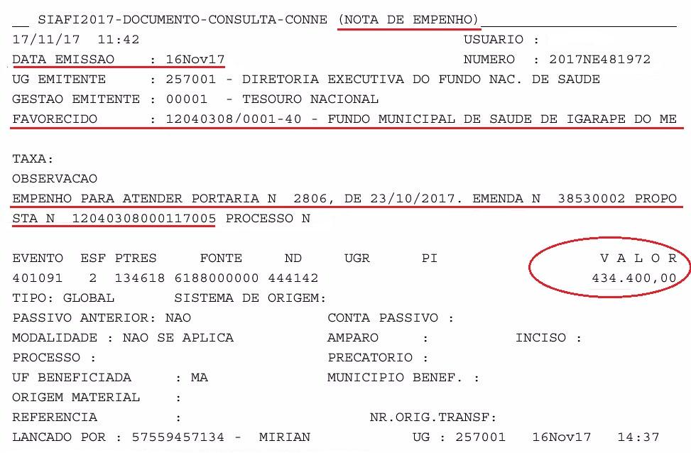 EMPENHADO RECURSOS PARA REFORÇAR O HOSPITAL DE IGARAPÉ DO MEIO
