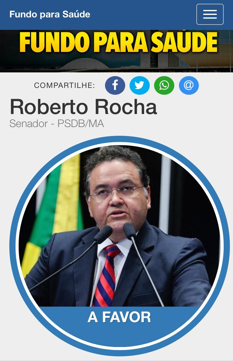 Roberto Rocha se posiciona favorável ao Fundo para Saúde